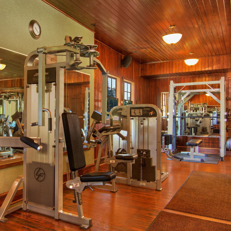 The onsite fitness center