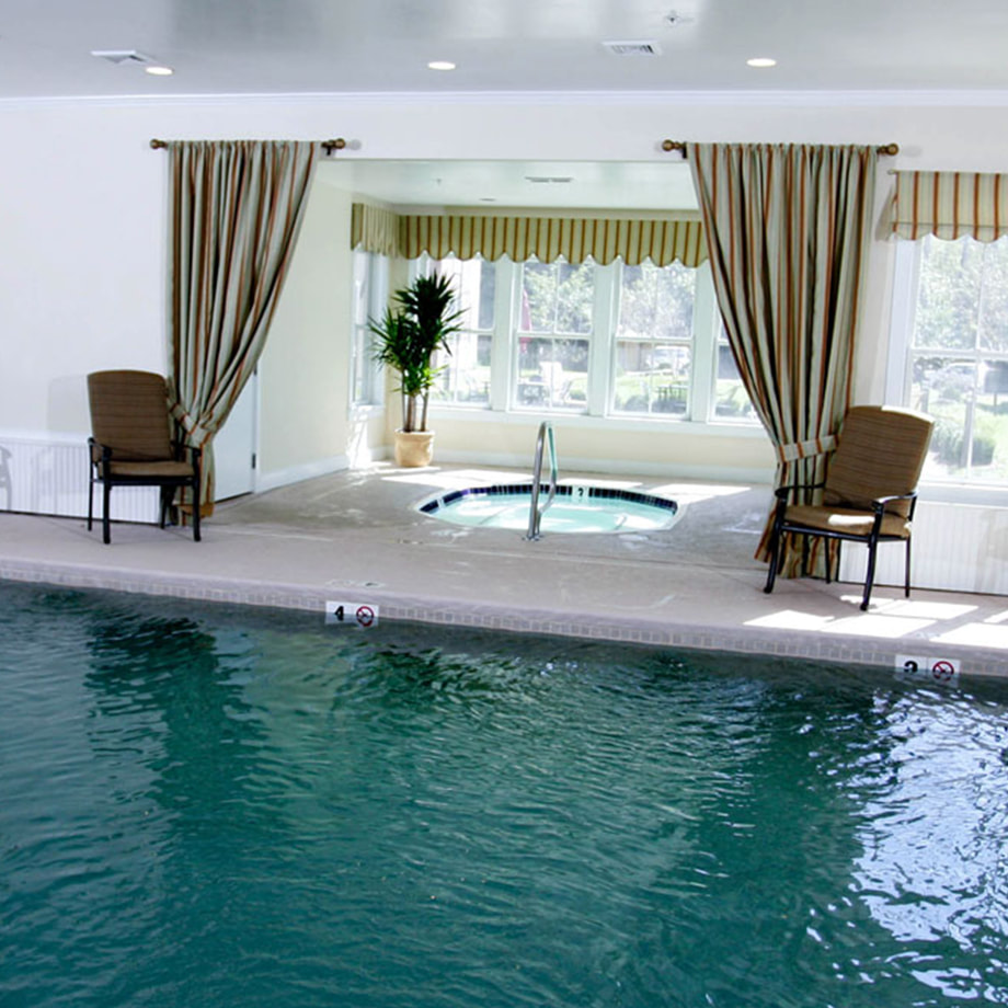 A view of the heated indoor pool and hot tub